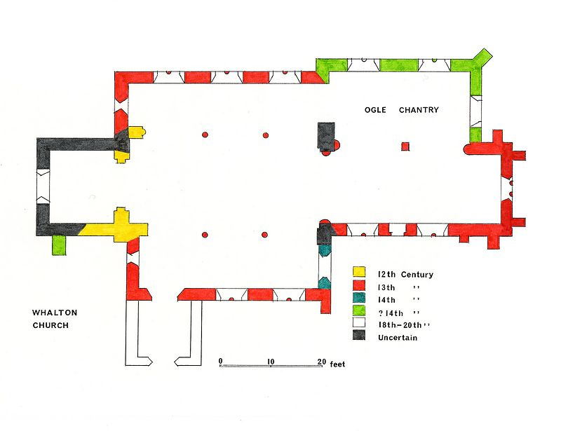 Whalton Church plan drawn by Barrie Ogle.